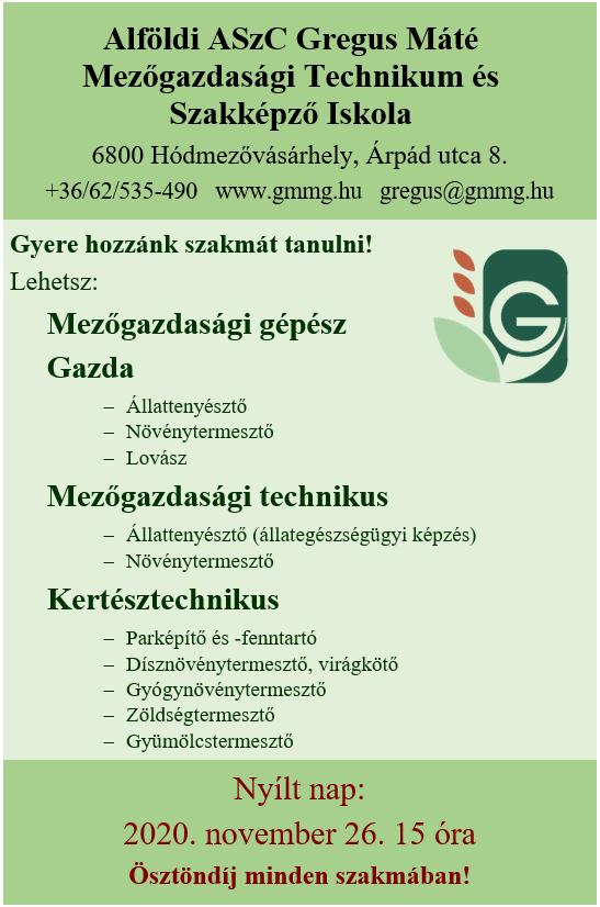 Nyílt Nap 2020. @ Alföldi ASzC Gregus Máté Mezőgazdasági Tecgnikum és Szakképző Iskola
